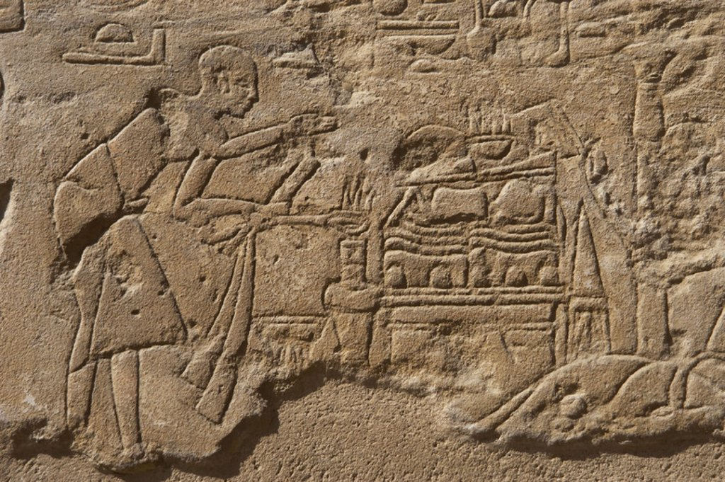 Stock Photo: 4409-36165 Relief depicting a priest performing a ritual of incense before an offering table. New Kingdom. Temple of Luxor. Egypt.