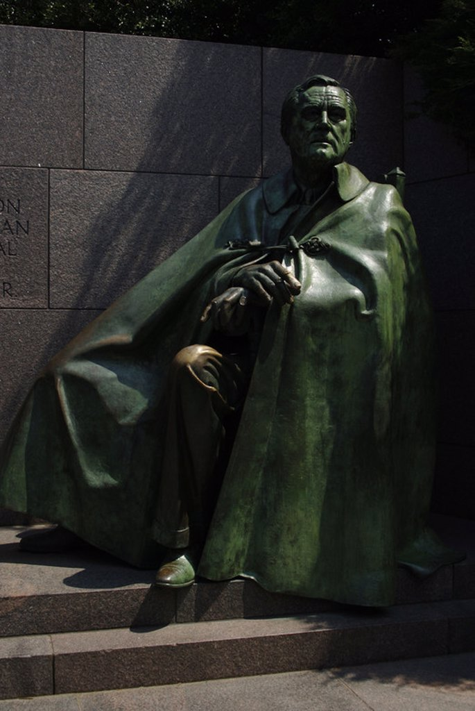 Stock Photo: 4409-36168 Franklin D. Roosevelt (1882-1945). 32th President of the United States. Bronze statue. Detail. Franklin Delano Roosevelt Memorial. Washington D.C. United States.