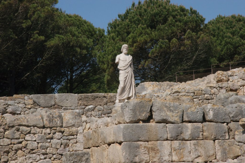 Stock Photo: 4409-36237 Greek Art. Emporium (Ampurias). Greek colony founded by the greeks of Foci., 570 BC. Statue of Asclepius. God of medicin. Neapolis.  Girona province. Catalonia. Spain. Europe.