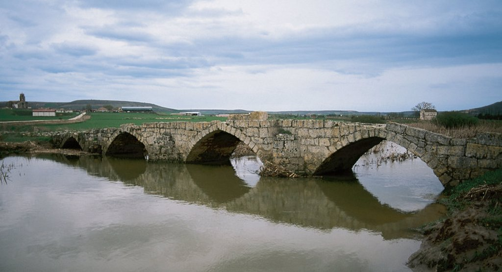 Stock Photo: 4409-36241 Roman bridge over the river Brulles. SasamU^n. Province of Burgos. Castile and Leon. Spain.