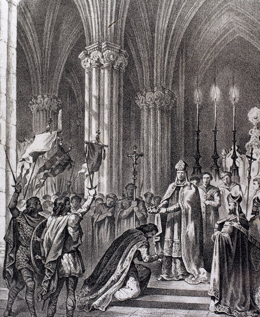 """Stock Photo: 4409-36301 ALFONSO VII """"el Emperador"""" (1105-1157). Rey de León y Castilla (1126-1157). """"PROCLAMACION DE ALFONSO VII COMO EMPERADOR DE ESPAÑA"""" (1135). Grabado del s. XIX."""