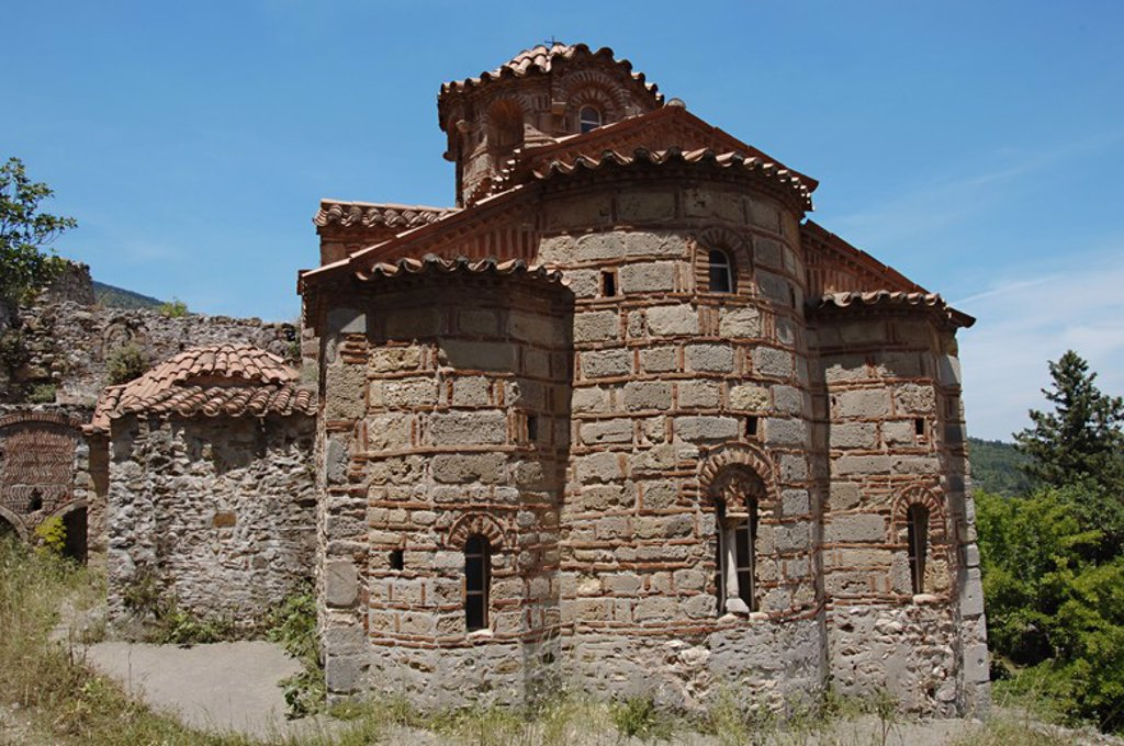 Stock Photo: 4409-36329 Greece. Mystras. Church of Evangelistria. Built in 14th-15th Century. Byzantine style. Ottoman Empire. Peloponnese.