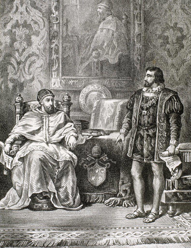 CLEMENTE VII (1478-1534). Papa italiano, de nombre Giulio de Médici (1523-1534). 'ENTREVISTA ENTRE CLEMENTE VII Y EL REY FRANCISCO I DE FRANCIA (1515-1547) '. S. XVI. Grabado S. XIX. : Stock Photo
