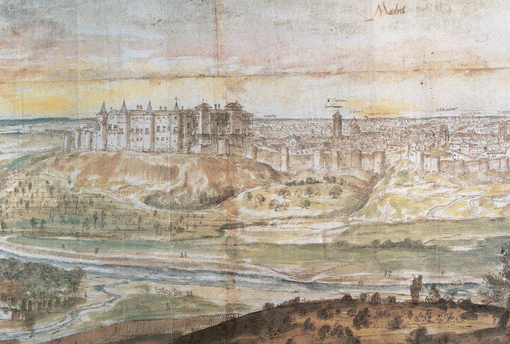 Stock Photo: 4409-36439 MADRID. Año 1564. Obra de Anton VAN DER WYNGAERDE (1510-1570). Realizado con pluma, tinta, sepia y aguadas. España.