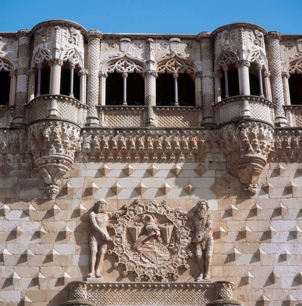 Guadalajara. The Infantado Palace built in the late fifteenth century by order of Don Inigo Lopez de Mendoza, second Duke of Infantado. The building features Gothic and Renaissance forms with Moorish decor. Detail. Castile-La Mancha. Spain. : Stock Photo