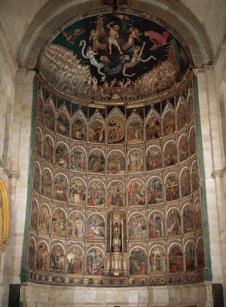 Spain. Salamanca. Old Cathedral. Main Altarpiece by Dello Delli (1404-1466). : Stock Photo