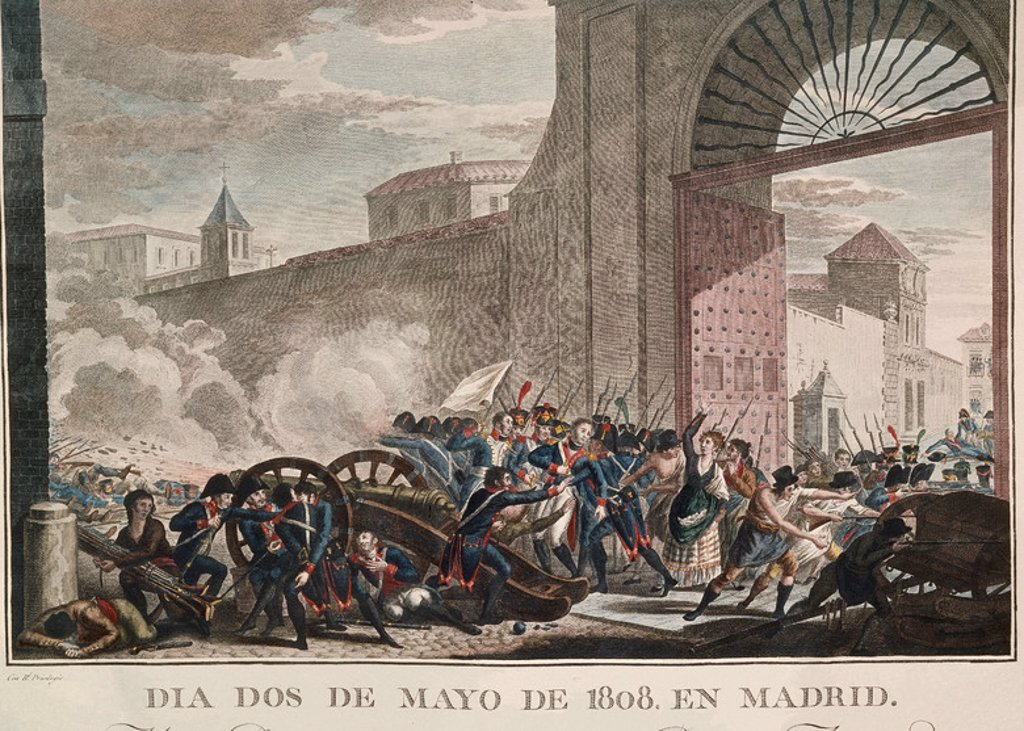 Stock Photo: 4409-3649 On May 2, 1808, Daoiz and Velarde die while defending the artilley park in Madrid. 19th century. Madrid, library of the royal palace. Location: PALACIO REAL-BIBLIOTECA, SPAIN.