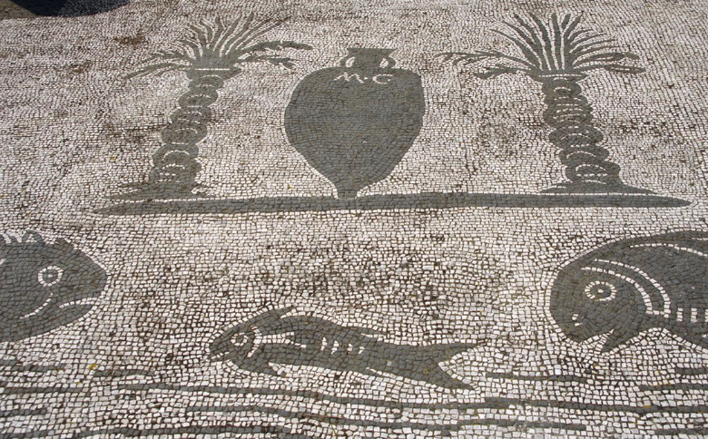 Stock Photo: 4409-36499 Ostia Antica. Square of the Guilds or Corporations. Mosaic depicting an amphora between two palm trees and three fishes. Near Rome.
