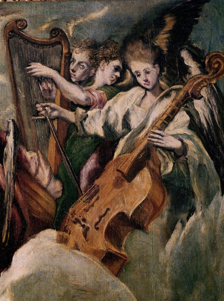 LA ANUNCIACION - DETALLE DE LOS ANGELES MUSICOS - 1596-1600 - O/L - NP 3888 - MANIERISMO ESPAÑOL - Conj nº 1804. Author: EL GRECO. Location: MUSEO DEL PRADO-PINTURA, MADRID, SPAIN. : Stock Photo