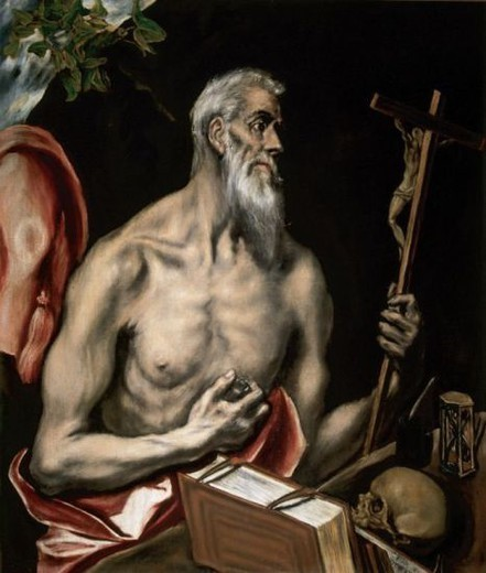 Stock Photo: 4409-36606 El Greco (1541-1614). St. Jerome Penitent (1600). Royal Academy of Fine Arts of San Fernando. Madrid. Spain.