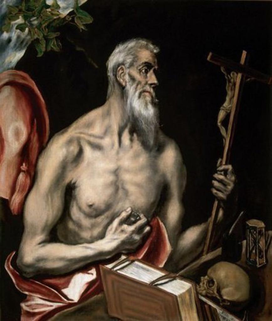 Stock Photo: 4409-36606 El Greco (1541-1614). St. Jerome Penitent (1600). Royal Academy of Fine Arts of San Fernando. Madrid. Spain.