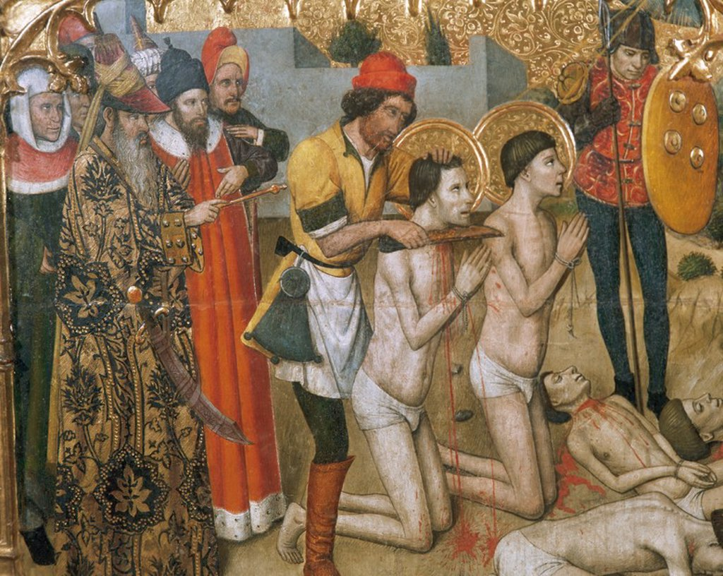 Stock Photo: 4409-36619 Gothic art. 15th Century. Jaume Huguet (c. 1415-1492). Catalan painter. Altarpiece of the Saints Abdon and Senen (1460-1461). Detail depicting the beheading of the Saints Cosmas and Damian. Predella. Church of Saint Mary of Terrassa. Catalonia. Spain.