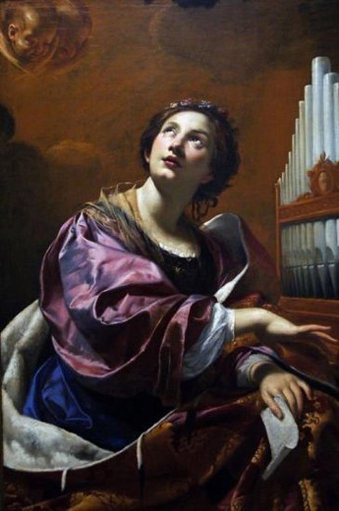 """Stock Photo: 4409-36743 ARTE BARROCO. FRANCIA. SIMON VOUET (1590-1649) Pintor francés. """"SANTA CECILIA"""" (h.1626). Oleo sobre lienzo. Museo Blanton de Arte. AUSTIN. Estado de Texas. Estados Unidos."""
