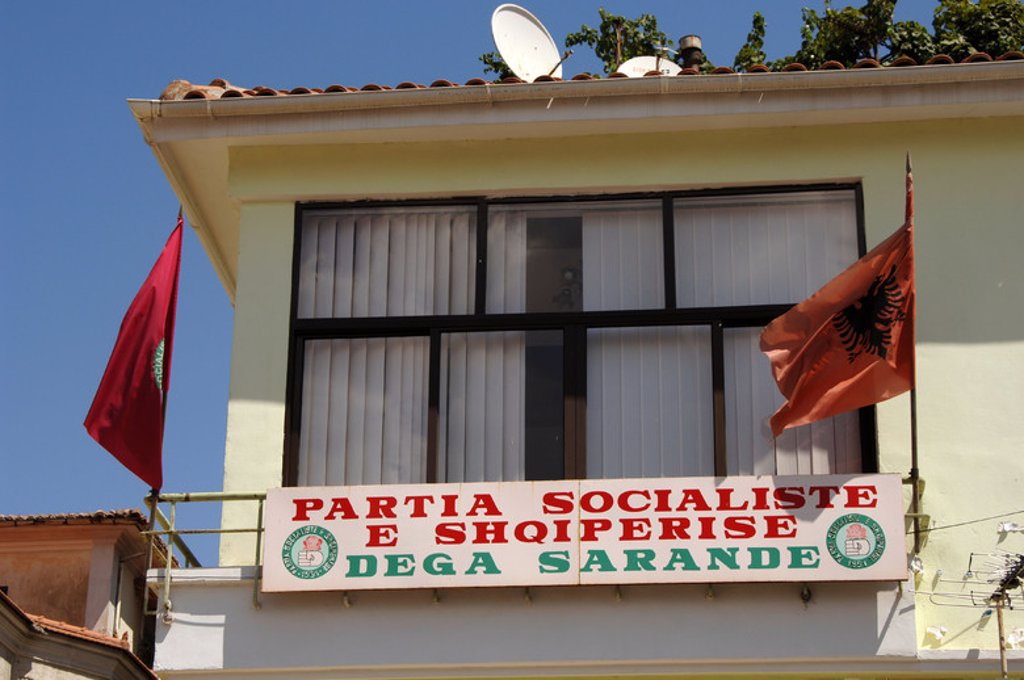 Headquarter of an Albanian political party. Saranda. Albania. : Stock Photo