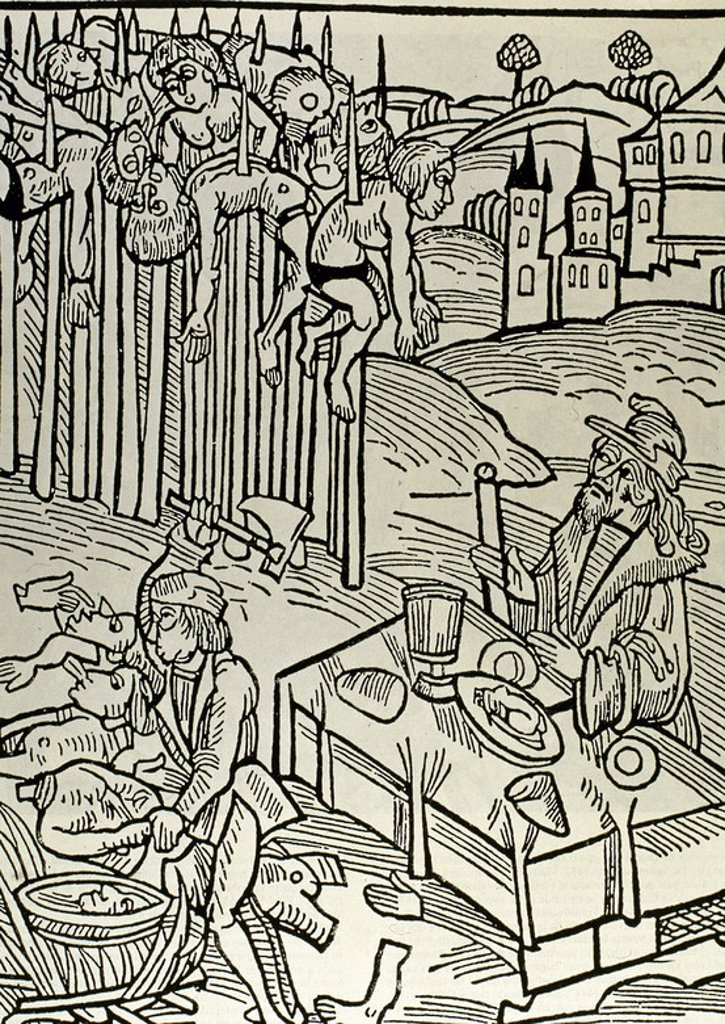 "Vlad II (1393-1447), known as Vlad Dracul (""Vlad the Dragon""). Voivode (duke) of Wallachia. Scene of the impalement. Vlad Tepes or Vlad the Impaler is watching the operation from a table, having his lunch and drinking wine. Germanic Illustration. : Stock Photo"