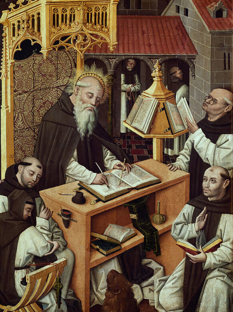 Stock Photo: 4409-3696 St. Jerome in his Office. Late 15th century. Oil on canvas (176 x 100). Monks copyists. Spanish gothic. Madrid, Lazaro Galdiano museum. Author: MAESTRO DEL PARRAL. Location: MUSEO LAZARO GALDIANO-COLECCION, MADRID, SPAIN.