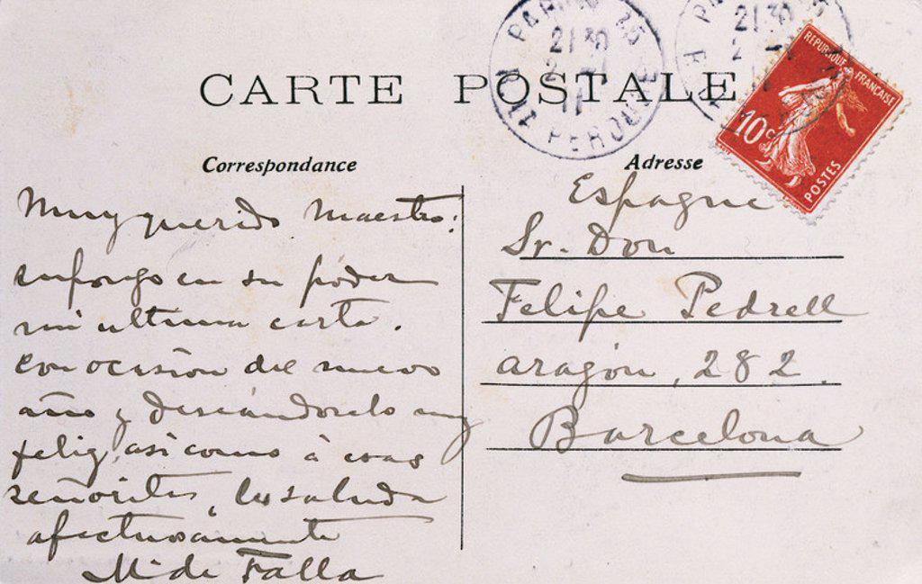 POSTAL desde París entre el compositor andaluz Manuel de FALLA (Cádiz, 1876-Alta Gracia, 1946) y el compositor catalán Felipe PEDRELL (Tortosa, 1841-Barcelona, 1922). Biblioteca de Cataluña. Barcelona. : Stock Photo