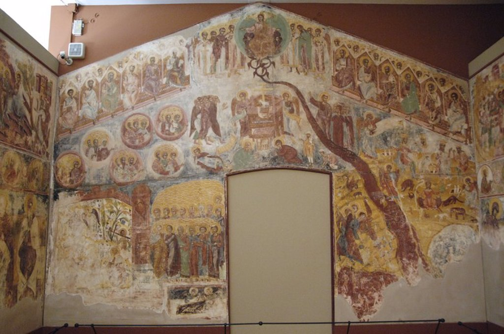 Byzantine Art. Greece. Frescoes from the Monastery of St. Andrew in Mesovouni Volimes. Anonymous. 17th century. Byzantine Museum. Zante. Ionian Islands. : Stock Photo