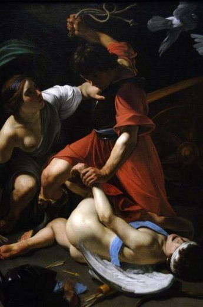 """Stock Photo: 4409-37099 ARTE BARROCO. ITALIA. BARTOLOMEO MANFREDI (Ostiano, 1582-Roma, 1622). Pintor italiano perteneciente al grupo de los """"caravaggistas"""" (seguidor de Caravaggio). """"MARTE CASTIGANDO A CUPIDO"""" (1613). Instituto de Arte de Chicago. Estado de Illinois. Estados Unidos."""