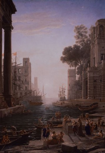 French school. St. Pauline embarks at port Ostia. Embarco de Ostia de Santa Paula Romana. 1637/1639. Oil on canvas (211 x 145 cm). Madrid, El Prado. Author: LORRAIN, CLAUDE. Location: MUSEO DEL PRADO-PINTURA, MADRID, SPAIN. : Stock Photo