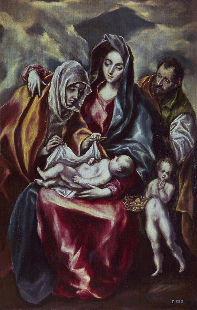 Stock Photo: 4409-3714 The Holy Family - 1595/1600 - oil on canvas - 107x69 - NP 826. Author: EL GRECO. Location: MUSEO DEL PRADO-PINTURA, MADRID, SPAIN. Also known as: LA SAGRADA FAMILIA CON SANTA ANA Y SAN JUANITO.