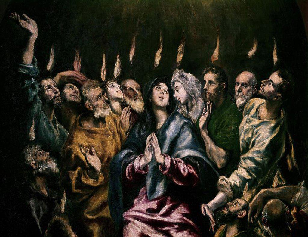 Stock Photo: 4409-3716 Pentecost - Detail. Pentecostés. Madrid, Prado museum. Author: EL GRECO. Location: MUSEO DEL PRADO-PINTURA, MADRID, SPAIN.