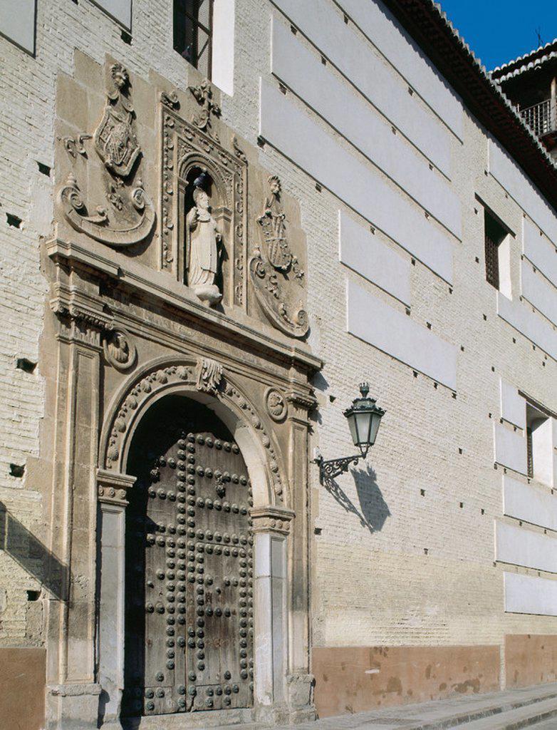Renaissance art. Spain. Convent of Santa Catalina de Zafra. 16th century. Front. Granada. Andalusia. : Stock Photo