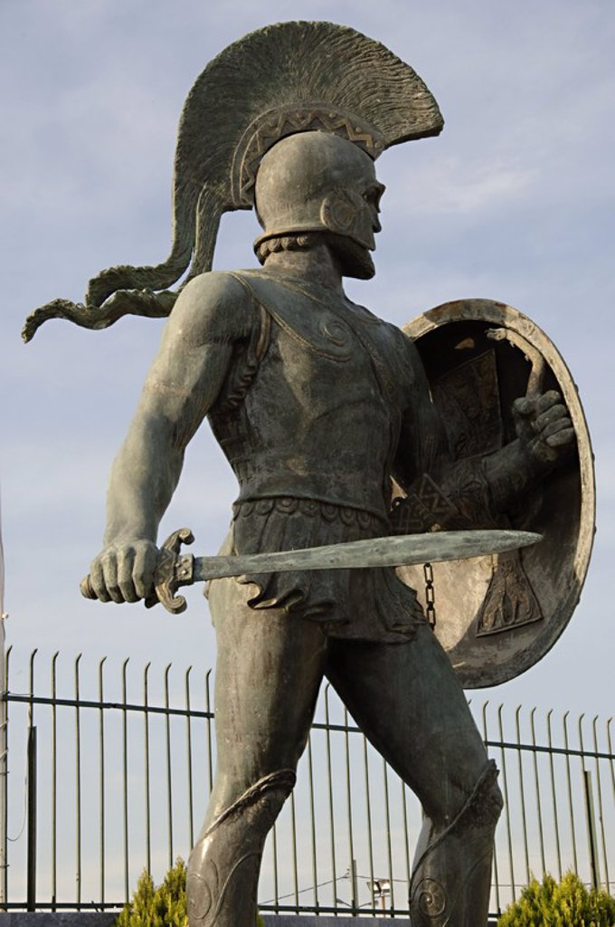 Stock Photo: 4409-37205 Leonidas I (died 480 BC). Also known as Leonidas the Brave was a Greek hero-king of Sparta, the 17th of the Agiad line King of Sparta[. Leonidas I is notable for his leadership at the Battle of Thermopylae. Monument de Leonidas erected in 1968. Sparta. Greece.
