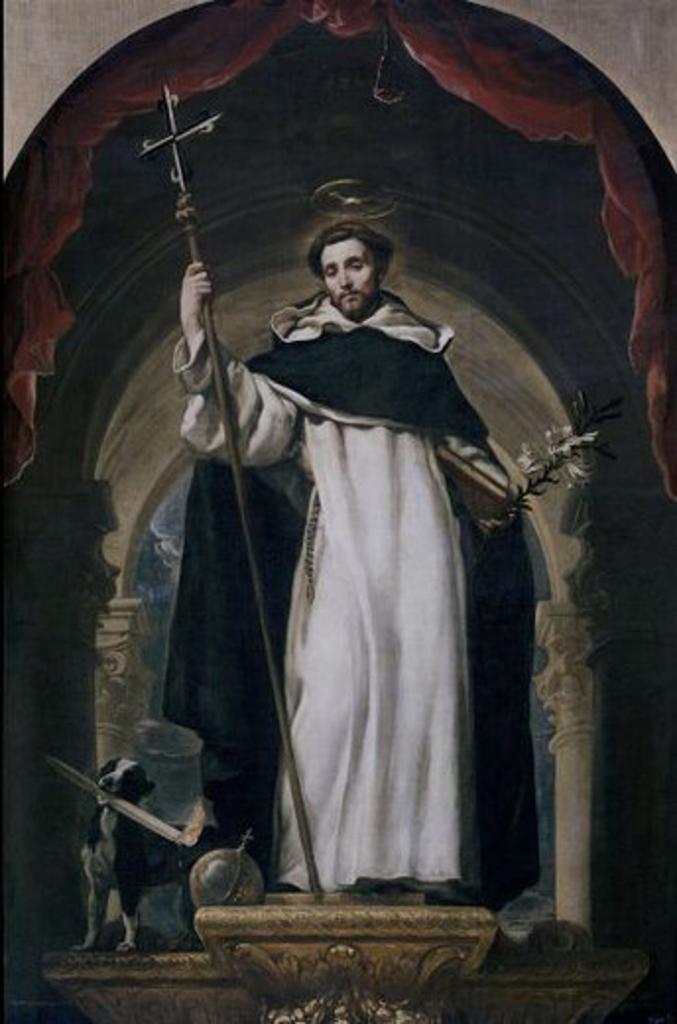 Stock Photo: 4409-3743 Spanish school. St Dominic of Guzmán. Santo Domingo de Guzmán. Oil on canvas (240 x 160 cm). Madrid, El Prado. Author: COELLO, CLAUDIO. Location: MUSEO DEL PRADO-PINTURA, MADRID, SPAIN.