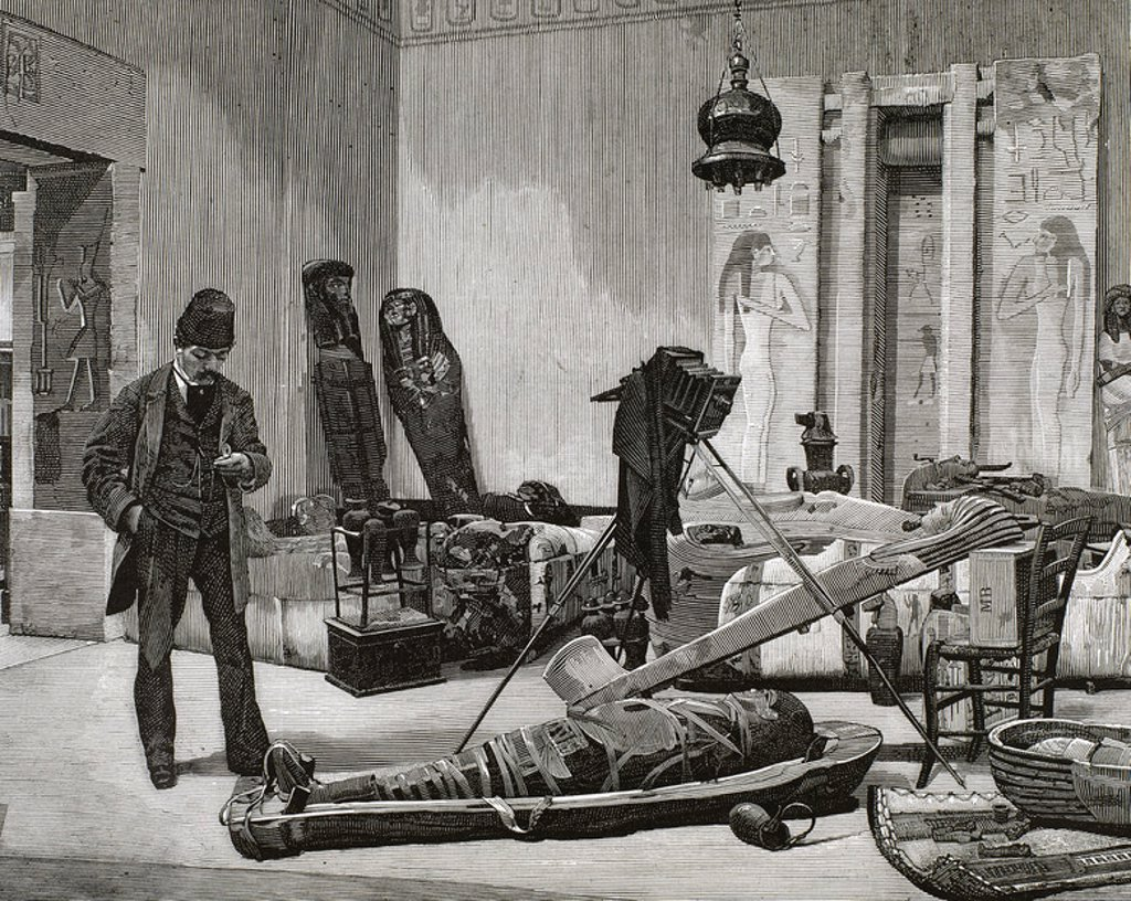 Stock Photo: 4409-37560 Photographer preparing a portrait of a mummy. Nineteenth-century engraving.