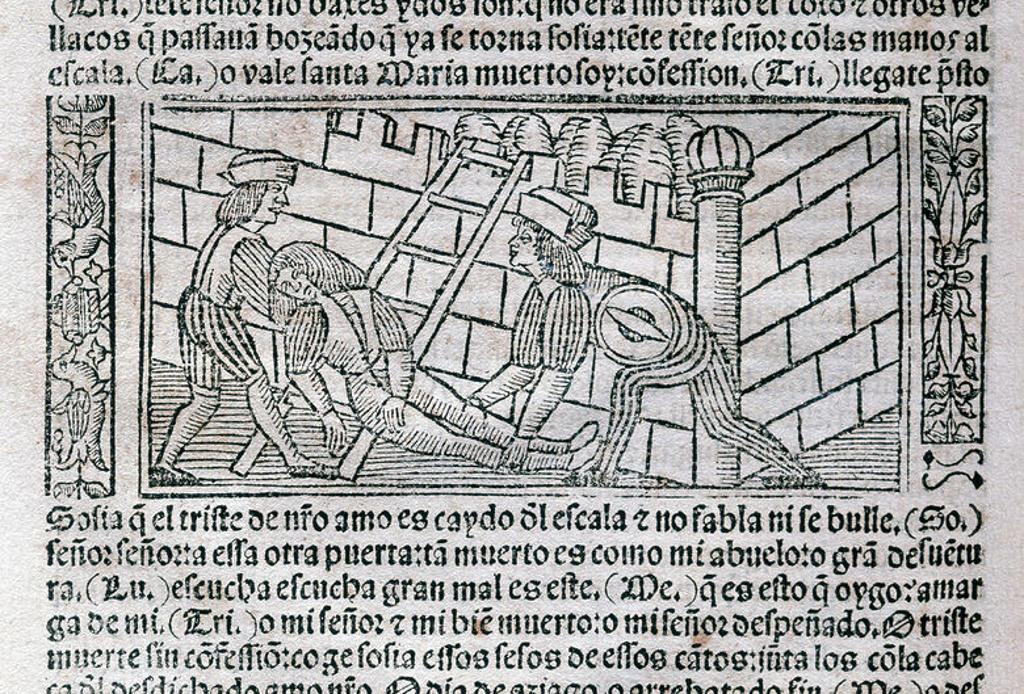 """Stock Photo: 4409-37631 LITERATURA CASTELLANA. S. XV. """"LA CELESTINA"""" o """"TRAGICOMEDIA DE CALISTO Y MELIBEA"""" (1499), obra escrita por Fernando DE ROJAS (Puebla de Montalbán, h. 1465-Talavera de la Reina, 1541), escritor español de familia judía convertido al cristianismo. Grabado con ESCENA DE LA OBRA de la edición impresa en Burgos en 1531. Biblioteca de Catalunya. Barcelona."""