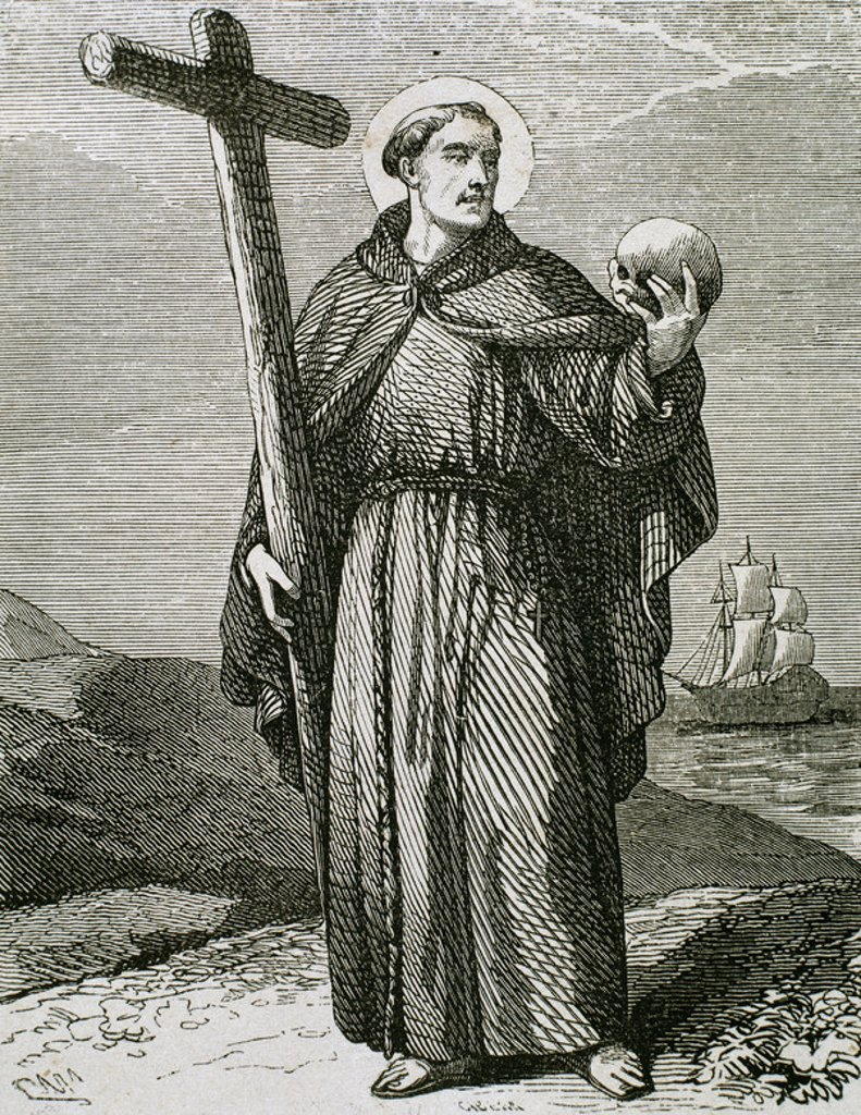 Saint Peter of Alcantara (1499-1562). Reformer of the Franciscan Order in Spain. Engraving. : Stock Photo