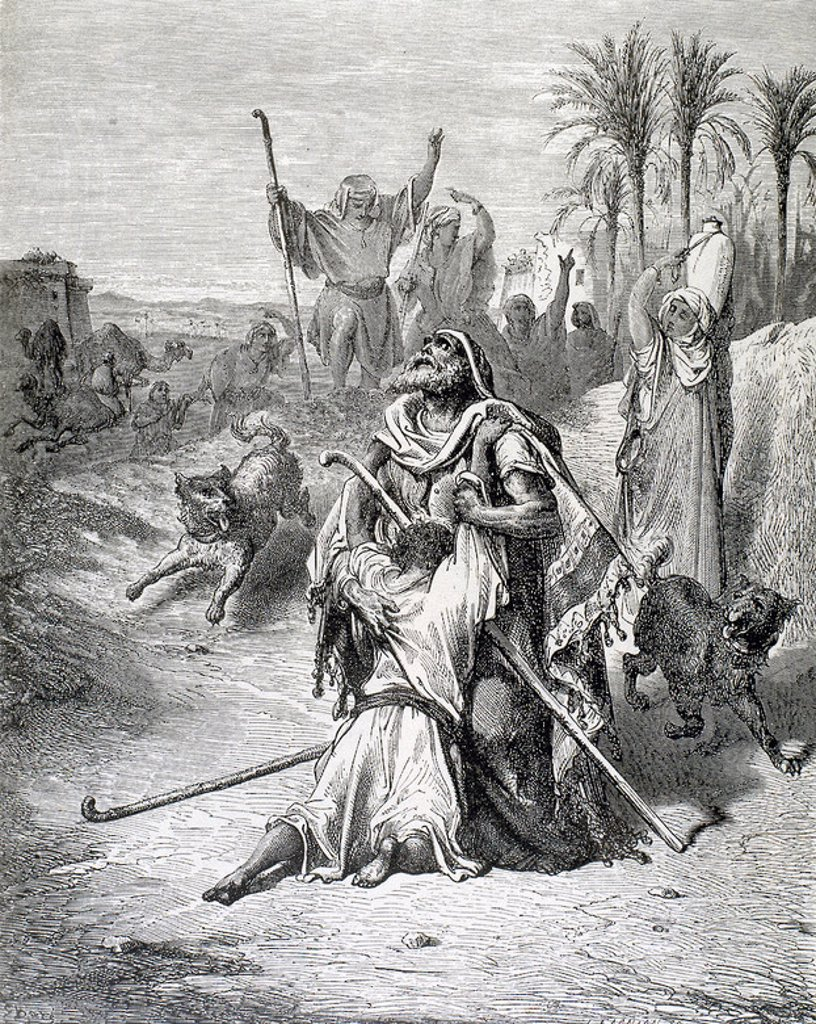 Parable of the Prodigal Son. The return of the Progal Son. G. Dore engraving. : Stock Photo