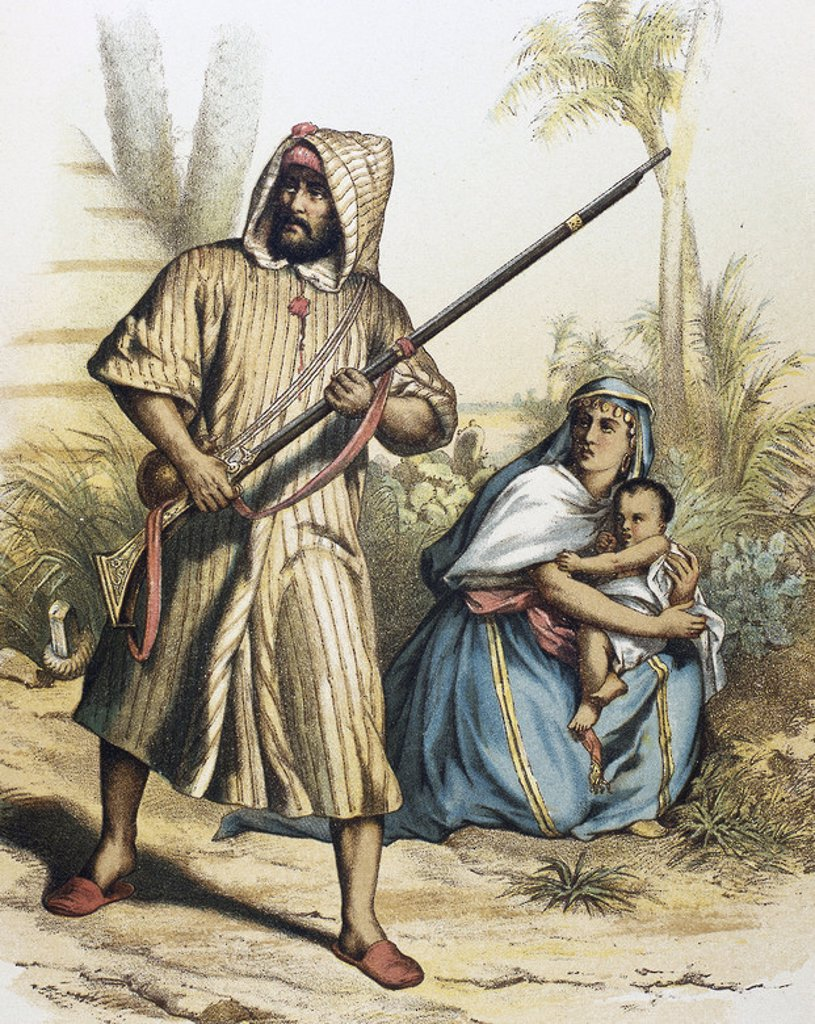 Arab family. Colored engraving. : Stock Photo