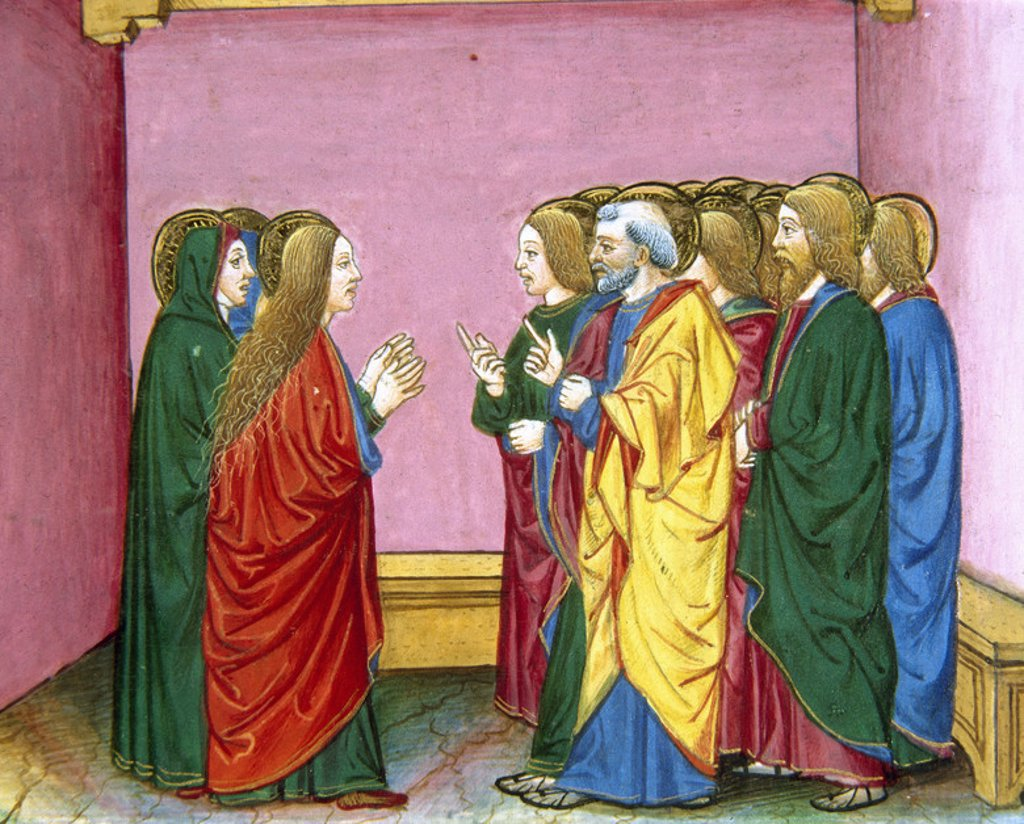 Stock Photo: 4409-37752 The three Marys announce to the disciples that Jesus has risen. Codex of Predis (1476). Royal Library. Turin. Italy.