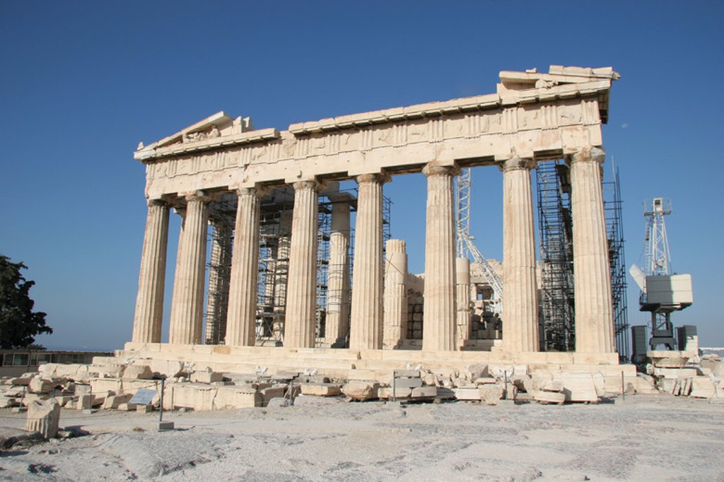 Stock Photo: 4409-37794 Greek Art. Parthenon. Was built between 447-438 BC. in Doric style under leadership of Pericles. The building was designed by the architects Ictinos and Callicrates. Acropolis. Athens. Attica. Central Greek. Europe.