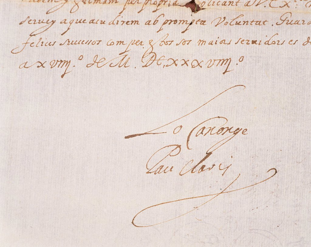 Stock Photo: 4409-37811 Pau Claris Casademunt (1586-1641). Catalan politician and clergyman. President of the Generalitat of Catalonia. Claris letter to the Viceroy of Catalonia, Dalmau de Queralt. Barcelona, __1639. Detail.
