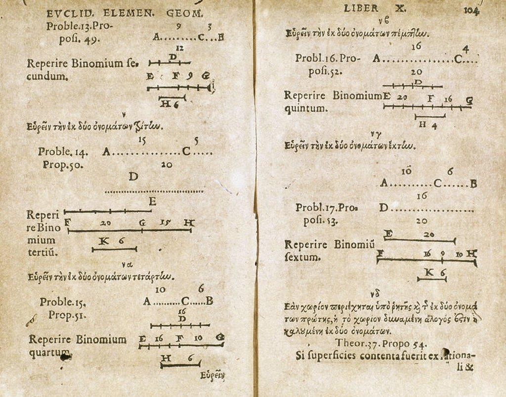 """Euclid (first half 3rd century BC). Greek mathematician, founder of the School of Alexandria. """"Elementum"""". Page of the """"Book of Geometry"""", in an edition of 1557, published in Paris. : Stock Photo"""