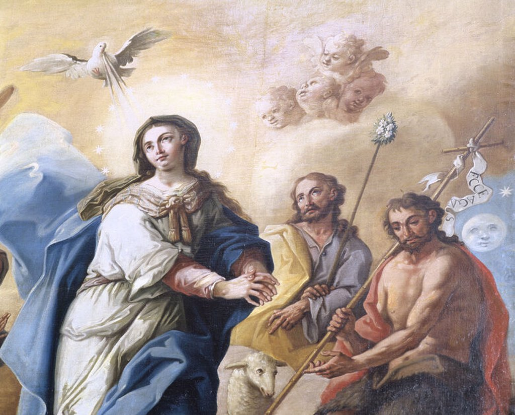 Stock Photo: 4409-37929 Jose Luzan (1710-1785).  Spanish painter. Immaculate with John the Baptist, Saint Joseph, Saint Joachim and Saint Anne. Church of our Lady the Virgin of the Olive. Ejea de los Caballeros. Spain.