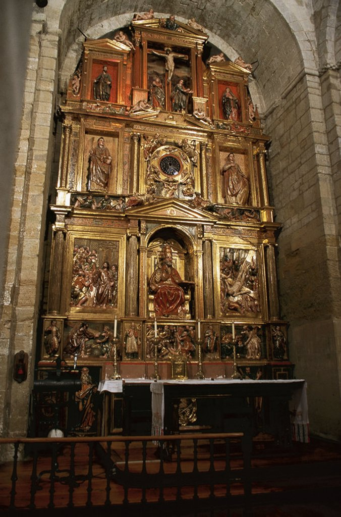 Stock Photo: 4409-37932 Church of Saint Peter the Old. Altarpiece by Juan Berrueta and Juan de Alli in renaissance style. Huesca. Aragon. Spain.