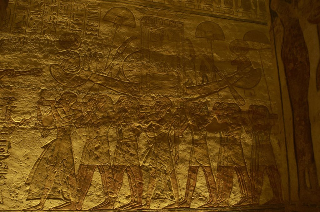 Stock Photo: 4409-37940 Egyptian art. Great Temple of Ramses II (1290-1224 BC). Priests in procession with the sacred boat. 19th dynasty. New Kingdom. Abu Simbel. Egypt.