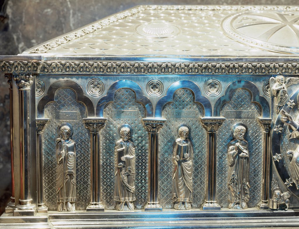 Stock Photo: 4409-37966 Spain. Galicia. Santiago de Compostela. Cathedral. The silver coffer holding the remains of St. James. Crypt. Built in 19th century. Detail evangelists.