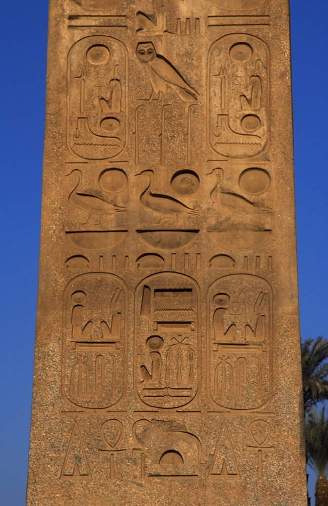 "Stock Photo: 4409-37994 Egypt. Hieroglyphic writing. Obelisk of Ramesses II (1300-1213, reign 1279-1213 b.C.). Detail. Temple of Luxor. Dynasty XIX. New Kingdom. Ancient Thebes ""Waset""."