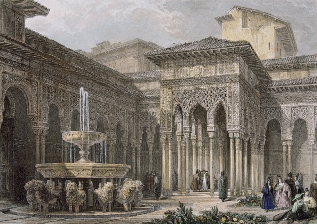 Stock Photo: 4409-37997 The Alhambra in Granada. Court of the lions. Higham colored engraving after a drawing by David Roberts. 19th century. Andalusia. Spain.