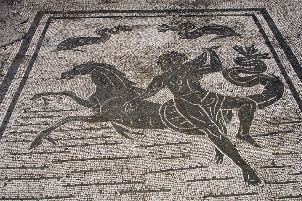 Stock Photo: 4409-38034 Ostia Antica. Square of the Guilds or Corporations. Mosaic depicting an Nereid with a sea-horse. Near Rome.