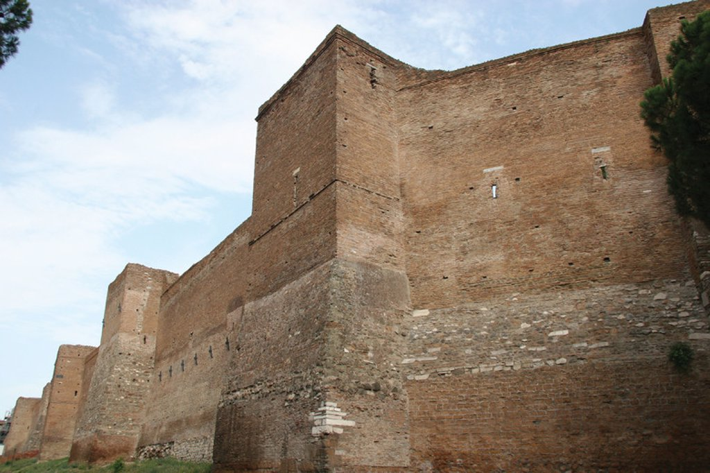 Stock Photo: 4409-38039 Roman Art. Aurelian Walls (Mura Aureliane). Is a line of city walls built between 271 ang 275 in Rome, during the reign of the roman emperor Aurelian. Detail of the Aurelian Walls. Rome. Italy. Europe.