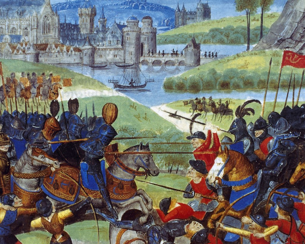 Stock Photo: 4409-38078 History of Gaul. The troops of Caesar and the Germanic hordes fighting over the Rhine. Medieval miniature. 15th century. Chateau de Chantilly. France.