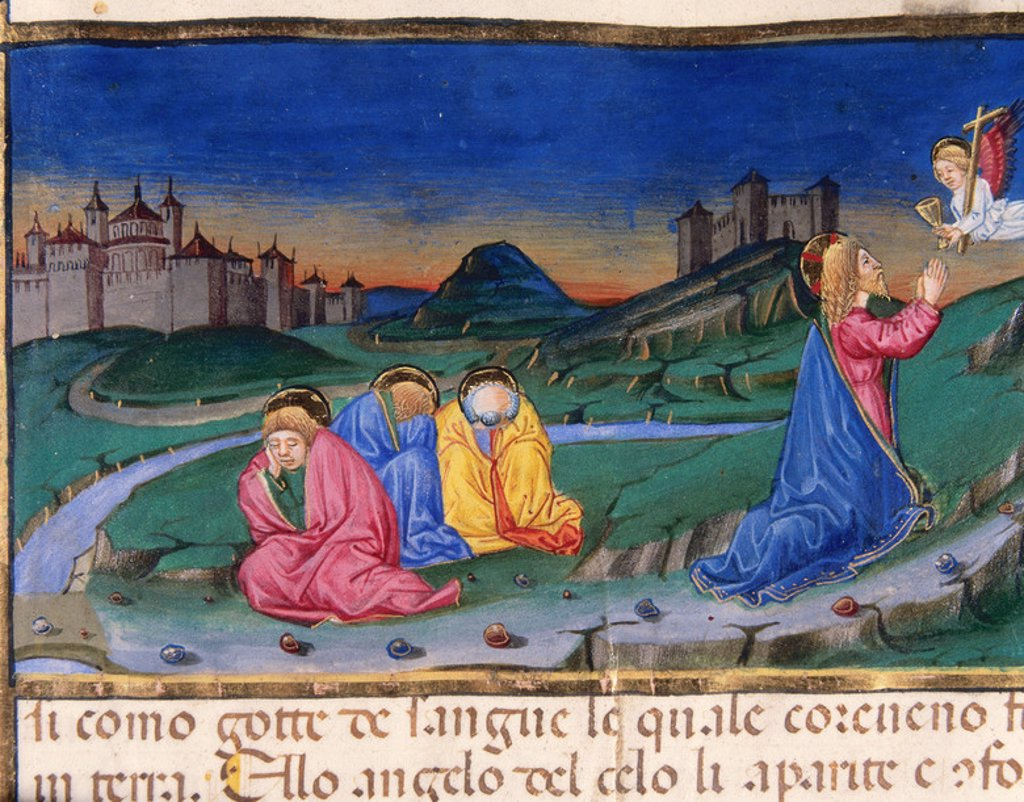 Stock Photo: 4409-38082 Jesus is going away from his disciples for praying in the Mount of Olives Codex of Predis (1476). Royal Library. Turin. Italy.