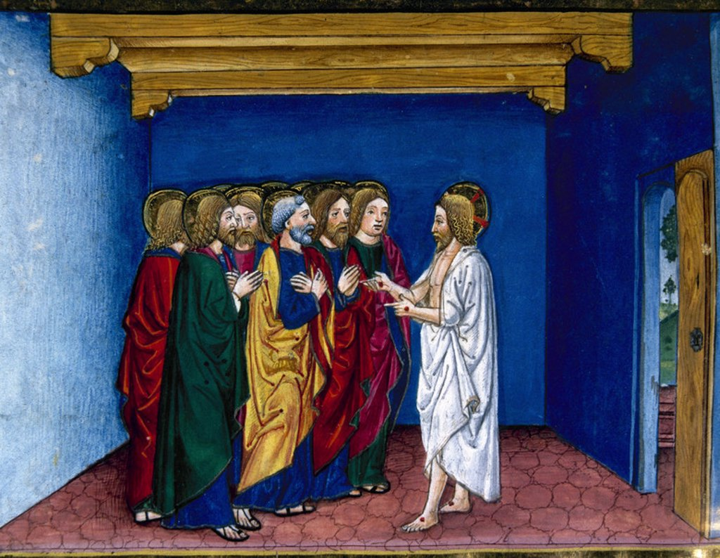 Stock Photo: 4409-38088 Jesus tells the apostles the parable of the friend who came to the house at midnight asking for bread. Illuminated pages of the Codex of Predis (1476). Royal Library. Turin. Italy.