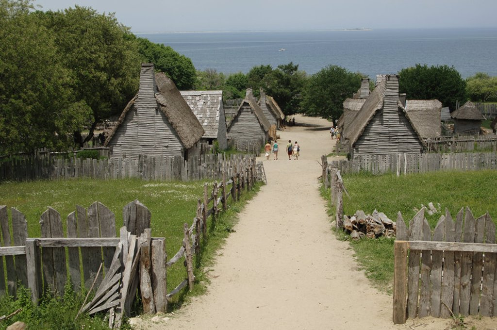 Stock Photo: 4409-38093 Plimoth Plantation or Historical Museum. Is a living museum in that shows the original settlement of the Plymouth Colony established in the 17th century by English colonists. English village. Plymouth. Massachusetts. United States.